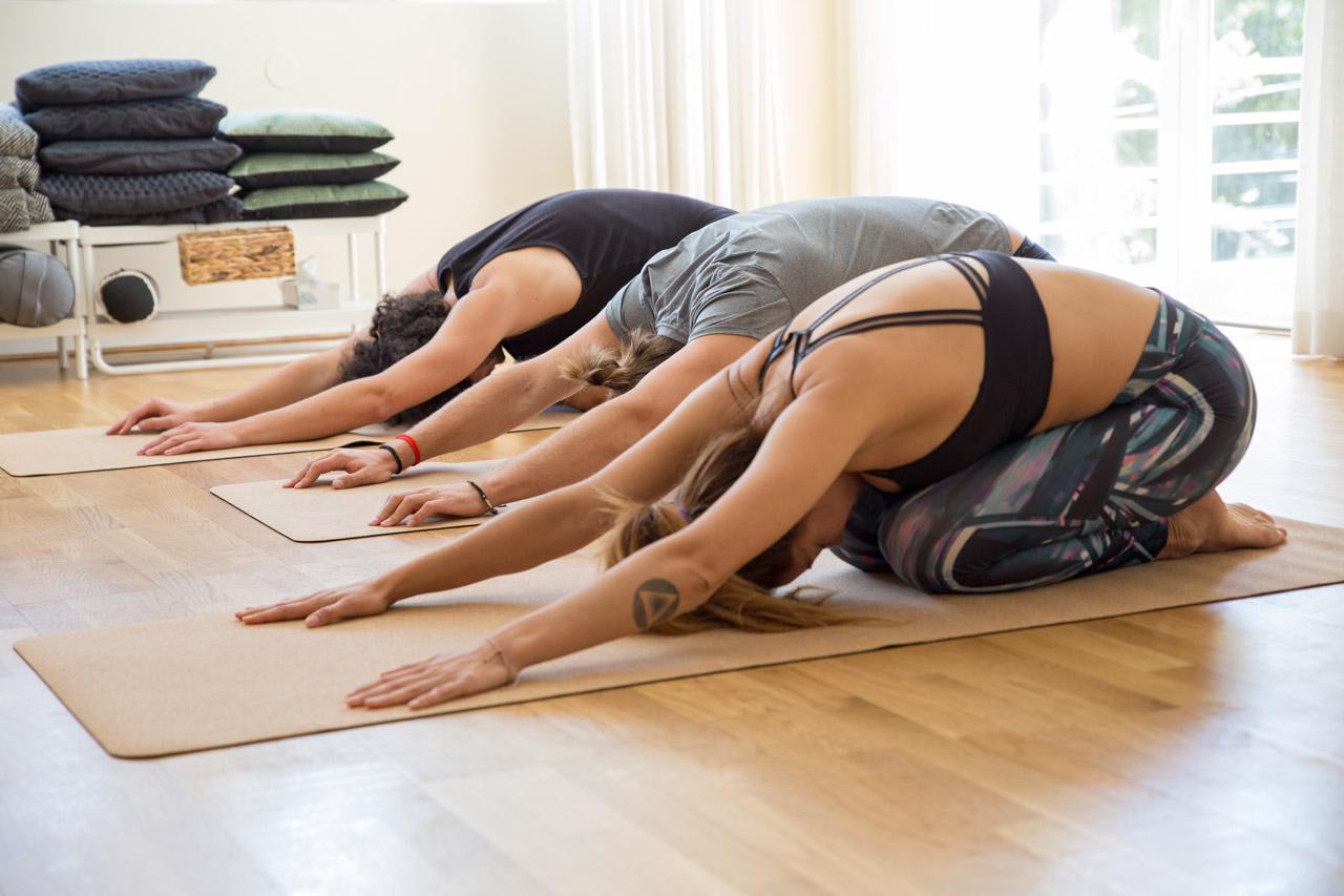 Turma de alunos de pilates realizando alongamento para as costas